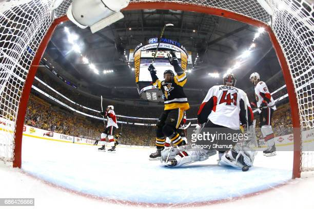 Nick Bonino celebrates a goal scored by Olli Maatta of the Pittsburgh Penguinsl against Craig Anderson of the Ottawa Senators during the first period...