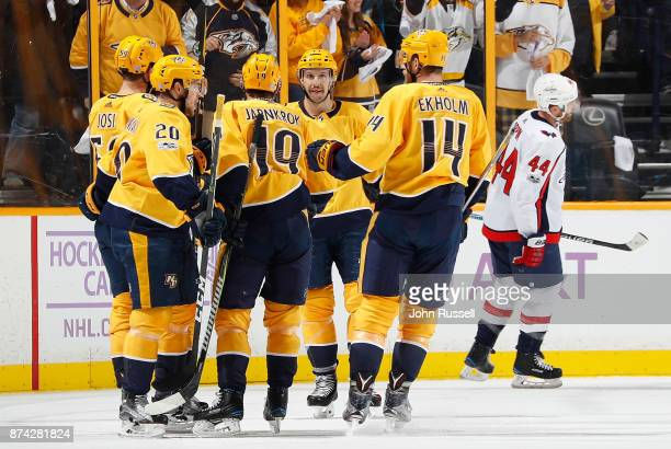 Nick Bonino celebrates his goal with Mattias Ekholm Calle Jarnkrok and Miikka Salomaki of the Nashville Predators against the Washington Capitals...