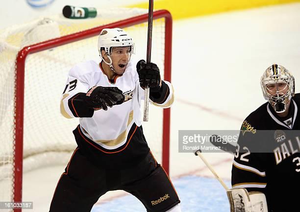 Nick Bonino of the Anaheim Ducks celebrates a goal against Kari Lehtonen of the Dallas Stars American Airlines Center on February 8 2013 in Dallas...