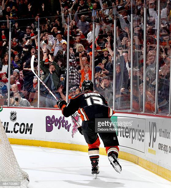 Nick Bonino of the Anaheim Ducks scores the gamewinning goal in overtime against the Colorado Avalanche on April 13 2014 at Honda Center in Anaheim...