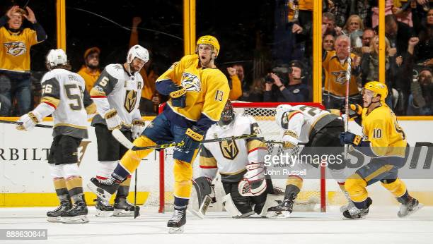 Nick Bonino of the Nashville Predators celebrates his goal against the Vegas Golden Knights during an NHL game at Bridgestone Arena on December 8...
