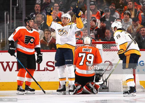 Nick Bonino of the Nashville Predators celebrates his goal at 404 of the second period against Carter Hart of the Philadelphia Flyers at the Wells...