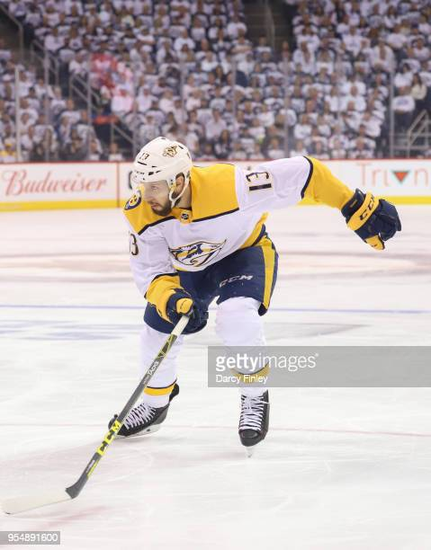 Nick Bonino of the Nashville Predators follows the play down the ice during first period action against the Winnipeg Jets in Game Three of the...