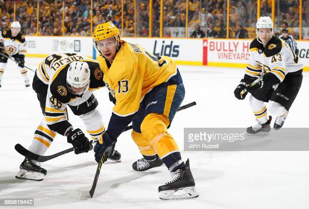 Nick Bonino of the Nashville Predators skates against the Boston Bruins during an NHL game at Bridgestone Arena on December 4 2017 in Nashville...