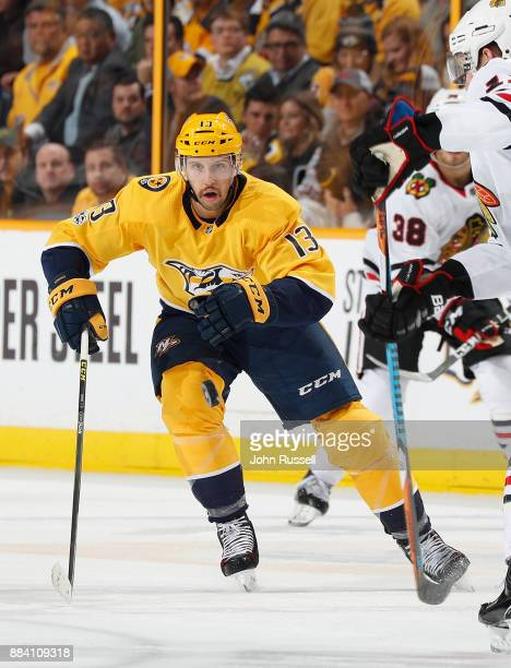 Nick Bonino of the Nashville Predators skates against the Chicago Blackhawks during an NHL game at Bridgestone Arena on November 28 2017 in Nashville...