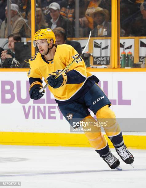 Nick Bonino of the Nashville Predators skates against the Colorado Avalanche during an NHL game at Bridgestone Arena on November 18 2017 in Nashville...