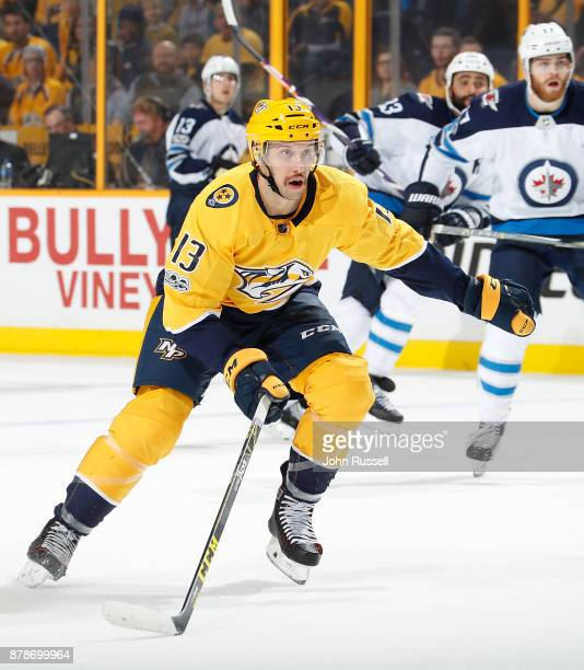 Nick Bonino of the Nashville Predators skates against the Winnipeg Jets during an NHL game at Bridgestone Arena on November 20 2017 in Nashville...