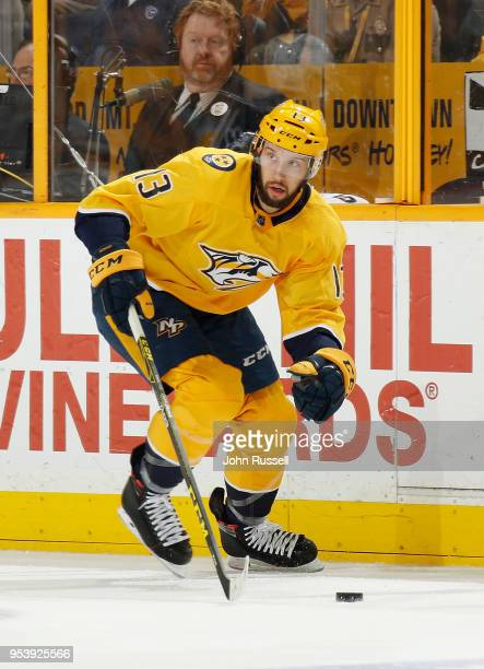 Nick Bonino of the Nashville Predators skates against the Winnipeg Jets in Game One of the Western Conference Second Round during the 2018 NHL...