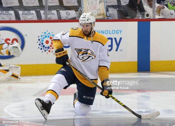 Nick Bonino of the Nashville Predators takes part in the pregame warm up prior to NHL action against the Winnipeg Jets in Game Three of the Western...