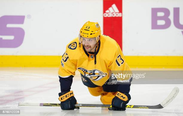 Nick Bonino of the Nashville Predators warmups up prior to an NHL game against the Colorado Avalanche at Bridgestone Arena on November 18 2017 in...