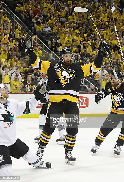 Nick Bonino of the Pittsburgh Penguins celebrates after scoring a third period goal against Martin Jones of the San Jose Sharks in Game One of the...