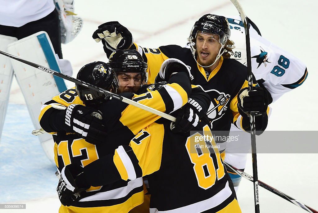 Nick Bonino #13 of the Pittsburgh Penguins celebrates with teammates after scoring a third period goal against the San Jose Sharks in Game One of the 2016 NHL Stanley Cup Final at Consol Energy Center on May 30, 2016 in Pittsburgh, Pennsylvania.