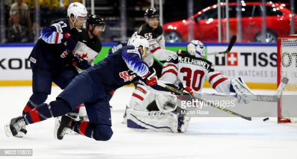 Nick Bonino of the United States scores the 2nd goal over Canada during the 2018 IIHF Ice Hockey World Championship Bronze Medal Game game between...