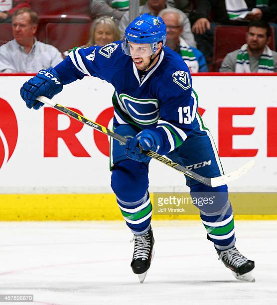 Nick Bonino of the Vancouver Canucks skates up ice during their NHL game against theTampa Bay Lightning at Rogers Arena October 18 2014 in Vancouver...
