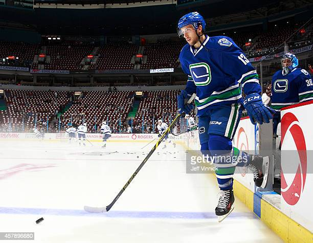 Nick Bonino of the Vancouver Canucks steps onto the ice during their NHL game against theTampa Bay Lightning at Rogers Arena October 18 2014 in...