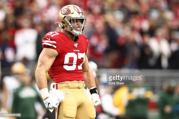 Nick Bosa of the San Francisco 49ers reacts after a play against the Green Bay Packers during the NFC Championship game at Levi's Stadium on January...