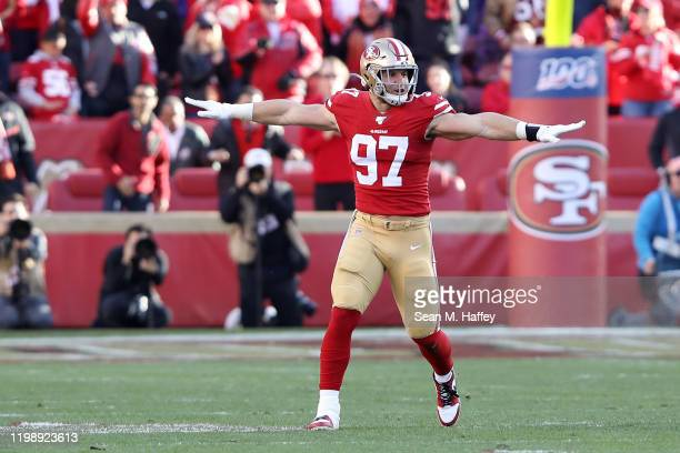 Nick Bosa of the San Francisco 49ers reacts to a broken up pass play during the third quarter against the Minnesota Vikings during the NFC Divisional...