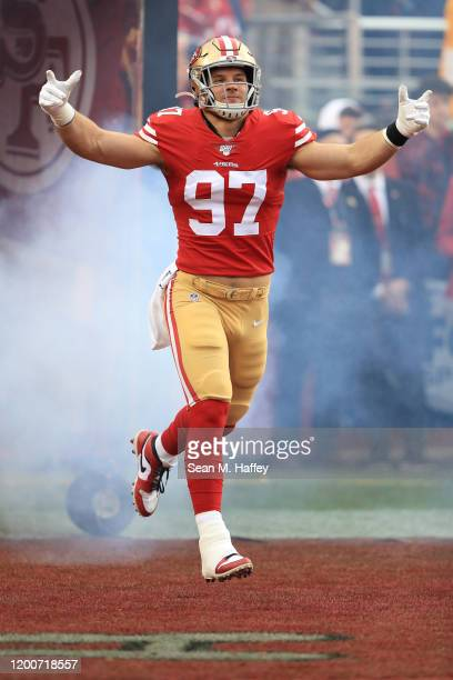 Nick Bosa of the San Francisco 49ers runs onto the field prior to the NFC Championship game against the Green Bay Packers at Levi's Stadium on...