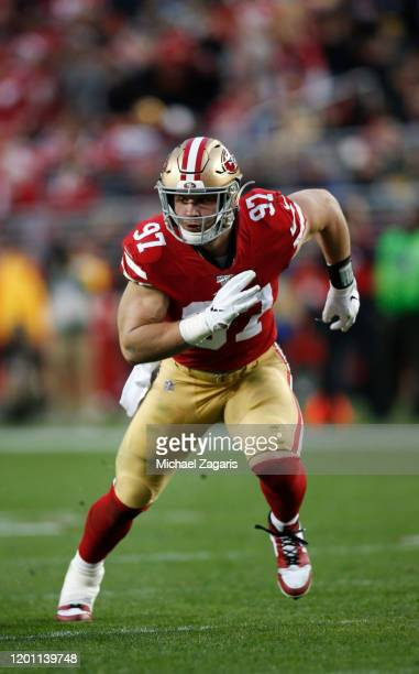 Nick Bosa of the San Francisco 49ers rushes the quarterback during the game against the Green Bay Packers at Levi's Stadium on January 19, 2020 in...