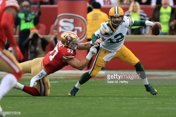 Nick Bosa of the San Francisco 49ers sacks Aaron Rodgers of the Green Bay Packers during the NFC Championship game at Levi's Stadium on January 19,...