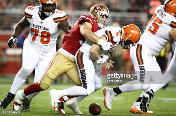 Nick Bosa of the San Francisco 49ers sacks Baker Mayfield of the Cleveland Browns and forces a fumble at Levi's Stadium on October 07, 2019 in Santa...
