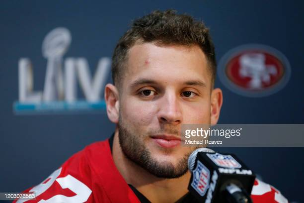 Nick Bosa of the San Francisco 49ers speaks to the media during the San Francisco 49ers media availability prior to Super Bowl LIV at the James L....