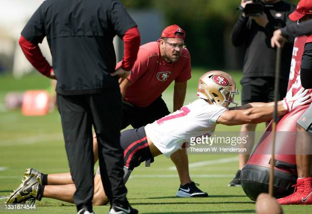 Nick Bosa of the San Francisco 49ers works out during training camp at SAP Performance Facility on July 31, 2021 in Santa Clara, California.