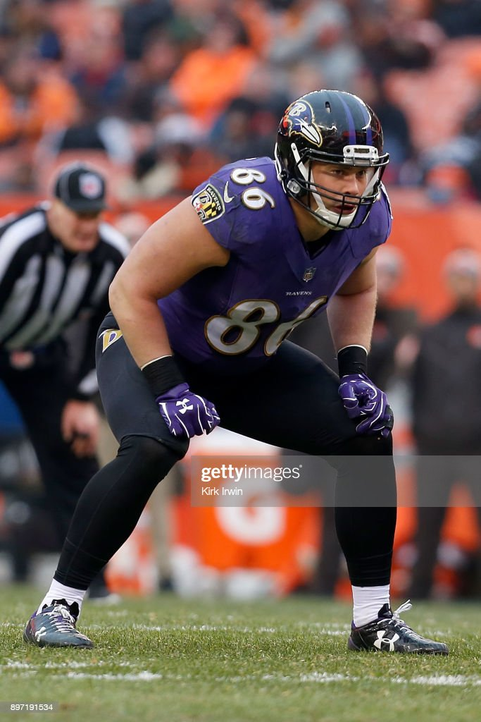 Nick Boyle #86 of the Baltimore Ravens prepares for the ball to be snapped during the game against the Cleveland Browns at FirstEnergy Stadium on December 17, 2017 in Cleveland, Ohio. Baltimore defeated Cleveland 27-10. (Photo by Kirk Irwin/Getty Images) *** Nick Boyle