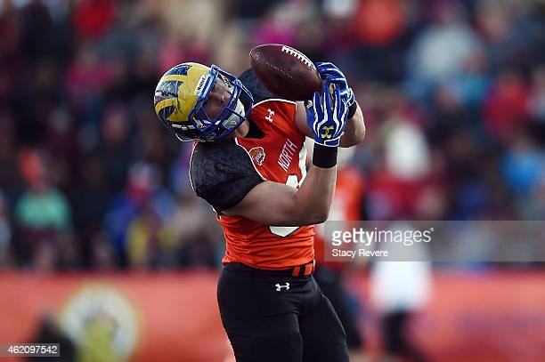 Nick Boyle of the North team is unable to catch a pass against the South team during the third quarter of the Reese's Senior Bowl at Ladd Peebles...