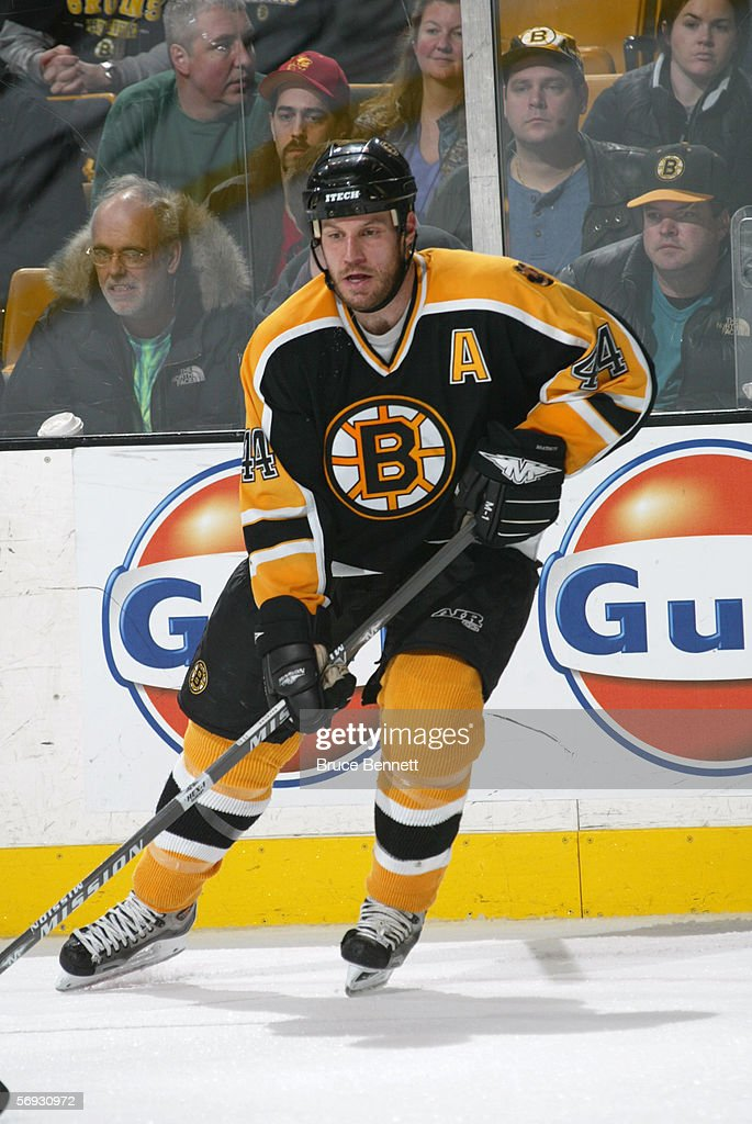 Nick Boynton #44 of the Boston Bruins skates against the Carolina Panthers on February 5, 2006 at TD Banknorth Garden in Boston, Massachusetts. The Hurricanes won 4-3 in a shootout.