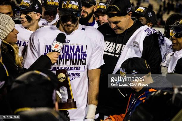 Nick Brish of the University of Mount Union is interviewed by an ESPN reporter after accepting the most outstanding player award following the...