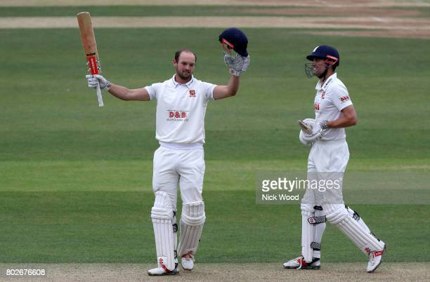 Nick Browne of Essex celebrates scoring a century of runs during the Essex v Middlesex Specsavers County Championship Division One cricket match at...