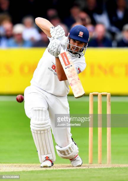 Nick Browne of Essex plays a shot during the Tour Match between Essex and West Indies at Cloudfm County Ground on August 2 2017 in Chelmsford England