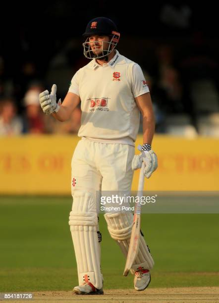Nick Browne of Essex reaches 50 runs not out during day two of the Specsavers County Championship Division One match between Essex and Yorkshire at...
