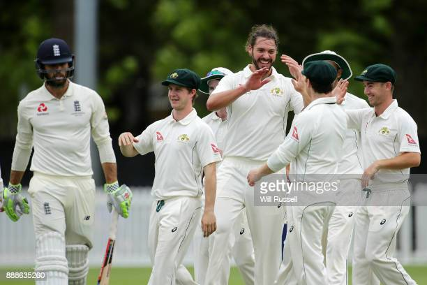 Nick Buchanan of Australia celebrates after taking the wicket of Ben Foakes of England during the Two Day tour match between the Cricket Australia CA...