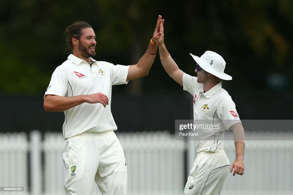 Nick Buchanan of the CA XI celebrates the wicket of Dan Lawrence of England during the Two Day tour match between the Cricket Australia CA XI and England at Richardson Park on December 9, 2017 in Perth, Australia.