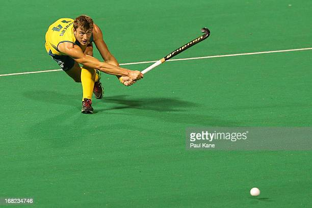 Nick Budgeon of Australia passes the ball during the International Test match between the Australian Kookaburras and Korea at Perth Hockey Stadium on...