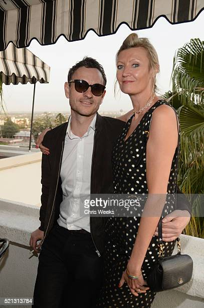 Nick Bull and Eva McBride attends the launch of Jade Jagger's new fine jewelry collection at Chateau Marmont on April 14 2016 in Los Angeles...