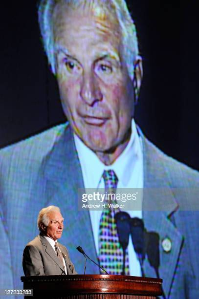 Nick Buoniconti speaks at the 26th Annual Great Sports Legends Dinner to benefit the Buoniconti Fund To Cure Paralysis at The Waldorf=Astoria on...