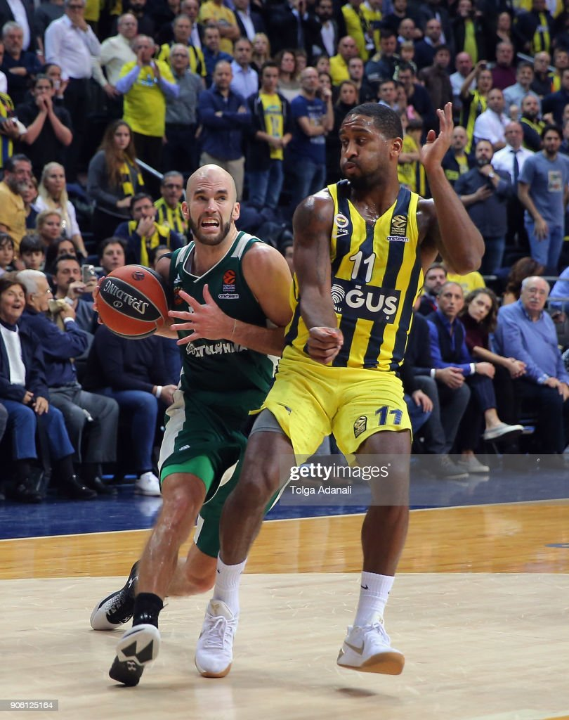 Nick Calathes, #33 of Panathinaikos Superfoods in action with Brad Wanamaker, #11 of Fenerbahce Dogus during the 2017/2018 Turkish Airlines EuroLeague Regular Season Round 18 game between Fenerbahce Dogus Istanbul and Panathinaikos Superfoods Athens at Ulker Sports and Event Hall on January 17, 2018 in Istanbul, Turkey.