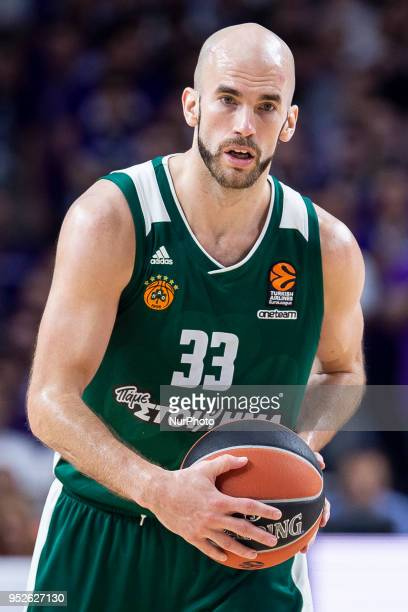 Nick Calathes of Panathinaikos Superfood in action during the Turkish Airlines Euroleague Play Offs Game 4 between Real Madrid v Panathinaikos...