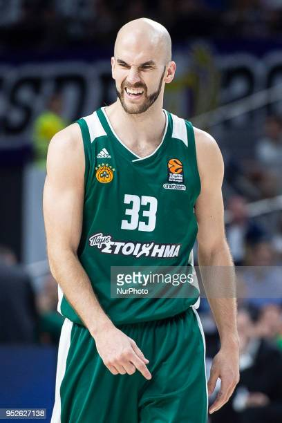 Nick Calathes of Panathinaikos Superfoods Athens reacts during the Turkish Airlines Euroleague Play Offs Game 4 between Real Madrid v Panathinaikos...