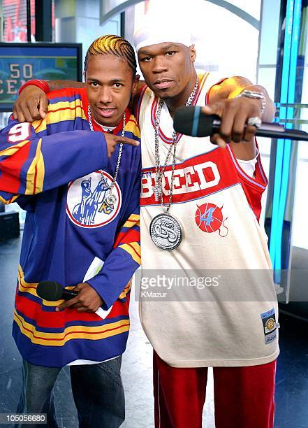 Nick Cannon and 50 Cent during 50 Cent Kicks Off MTV's 'TRL' High School Week April 14 2003 at MTV Studios Times Square in New York City New York...