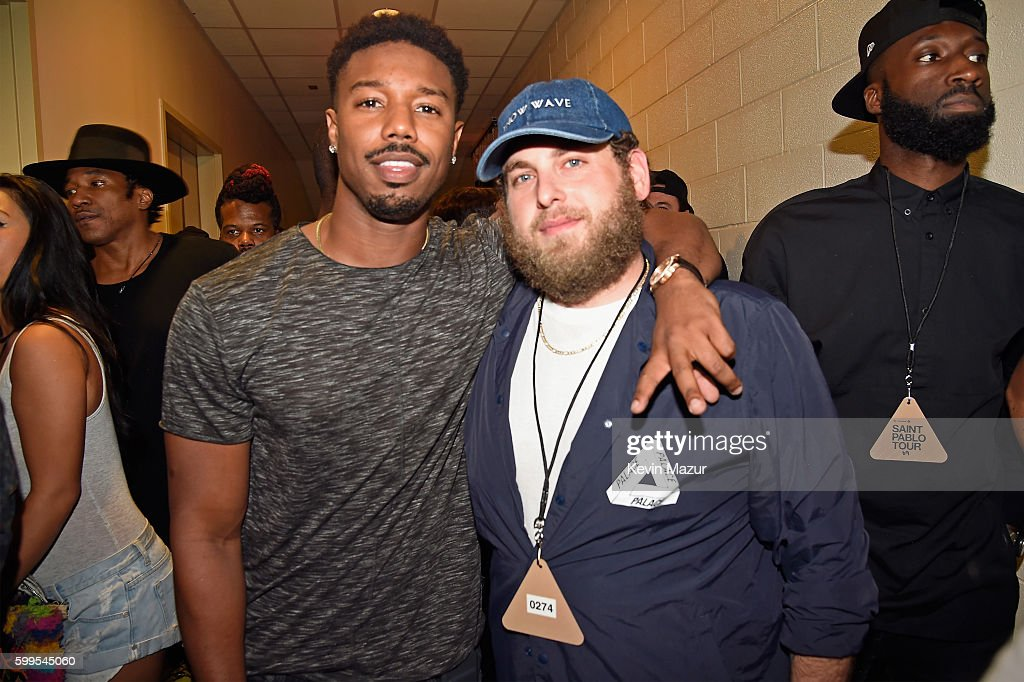 Nick Cannon (L) And Actor Jonah Hill Pose Backstage During Kanye West: The