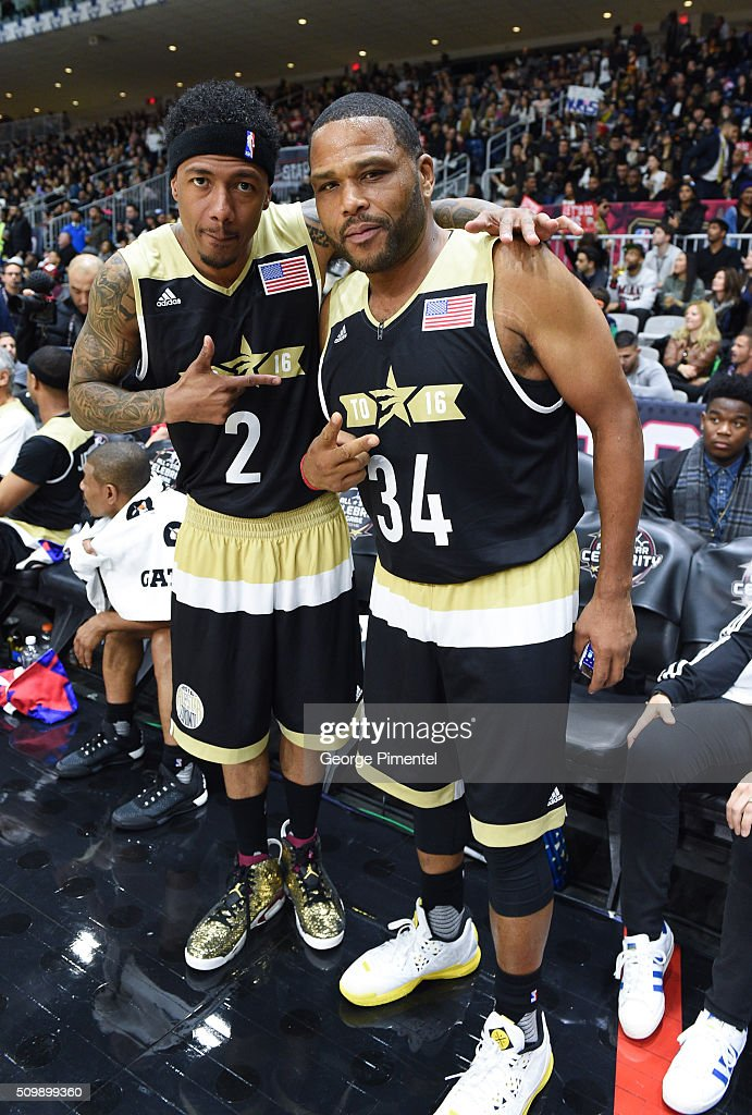 Nick Cannon and Anthony Anderson attend the 2016 NBA All-Star Celebrity Game at Ricoh Coliseum on February 12, 2016 in Toronto, Canada.