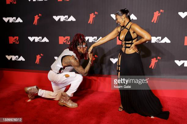 Nick Cannon and Ashanti attend the 2021 MTV Video Music Awards at Barclays Center on September 12, 2021 in the Brooklyn borough of New York City.