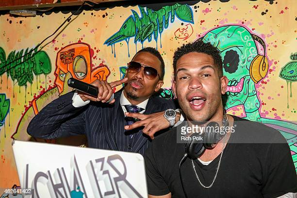 Nick Cannon and Dj Schuller Gaillard attend Bounce Sporting Club Pop Up At NFL's Big Game Weekend at Calico Jacks on February 1 2015 in Glendale...