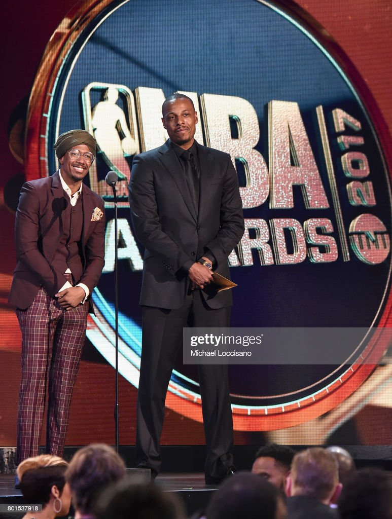 Nick Cannon and former NBA player, Paul Pierce speak on stage during the 2017 NBA Awards Live On TNT on June 26, 2017 in New York City. 27111_001
