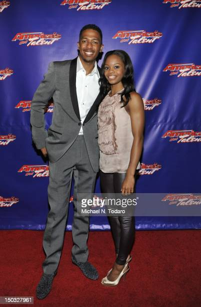 Nick Cannon and Gabrielle Douglas attend the America's Got Talent post show red carpet at New Jersey Performing Arts Center on August 15 2012 in...