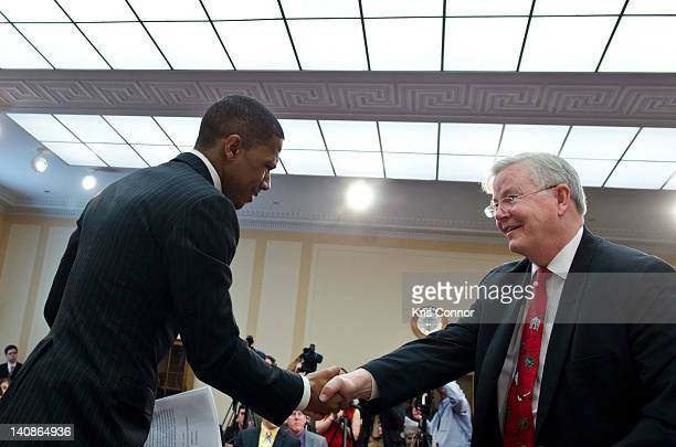 Nick Cannon and Joe Barton shakes hands during a Congressional Briefing on Protecting Children and Teen Online Privacy at the Rayburn House Office...